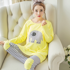 Pregnant women breastfeeding pajamas autumn thin cotton pajamas pregnant women care pajamas set yellow L