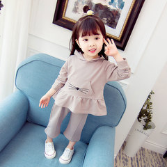 Cartoon female baby cotton suit long-sleeved hooded sweater girls home two-piece gray 80CM/S