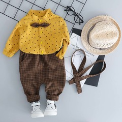 Boy Gentleman Style Set Newborn Baby Bow Stars Yellow Shirt & Plaid Suspenders Children's Clothing yellow 6T