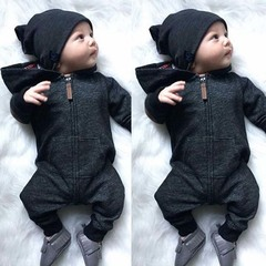 Children's girls clothes onesies newborn baby boy hooded zipper children's black long sleeve suit black 70cm/s