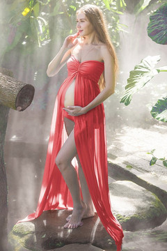 Pregnant women fancy strapless dress pregnancy chiffon photo shoot dress maternity dress red one size