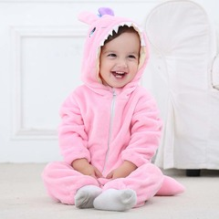 Flannel 0-2Y infant cartoon animal long sleeve jumpsuit boys and girls zipper bear hooded clothes pink 70cm/s