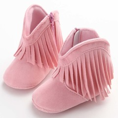 Newborn baby solid color tassel shoes girl toddler soft bottom non-slip boots in the boots pink 11cm