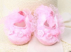 Baby girl sweet lace flower princess shoes walking toddler soft non-slip first walker pink 11cm