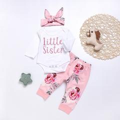 Newborn Baby Girl Clothes Long Sleeve Letter Print Top Flower Pants Headband 3PCS Clothing Set pink 70cm