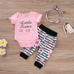 3 female baby clothing suit letter body leotard tops + striped floral pants + headband baby clothing pink 80cm