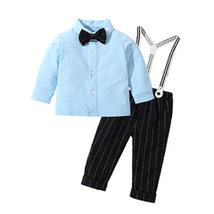 Male baby gentleman long-sleeved jumpsuit + striped suspenders 2 piece wedding party costume blue 70cm