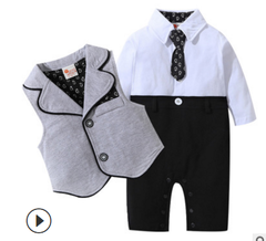 0-2Y baby newborn clothes and tie vest men's suit children's formal suit jumpsuit grey 70cm