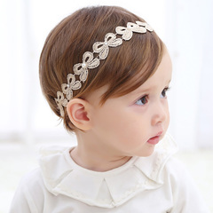 Children's cute hair accessories lace flower girl wedding party elastic band headdress A one size