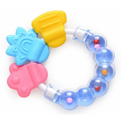 Silicone baby rattle teeth toothbrush baby training tooth bells toy massager for newborn baby blue one size