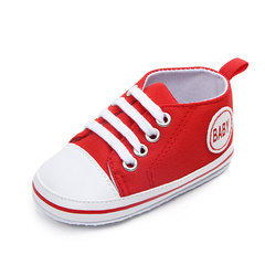 Cute newborn canvas sneakers boy girl first walking shoes soft bottom non-slip baby shoes red 11cm