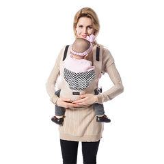 Ergonomic baby strap striped portable sling backpack comfortable shoulder baby kangaroo beige onesize