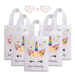 20PCS Unicorn Laminated Waterproof Non-woven Paper Bag Birthday Party Gift Tote Shopping Bag unicorn 20pcs:19.05 cm x 26.67 cm x 20cm
