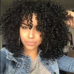 New fashion natural synthetic wig ladies wig small curls 16 inches black black 16 inches