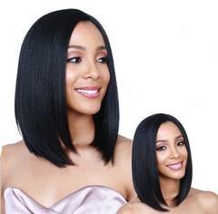 Female short straight black hair synthetic wig type personality facial repair wave head black 28cm*17cm*5cm