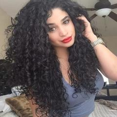 Fashion wig women's positive picking full-curved curly hair wigs can make 360 round hairpins black one size