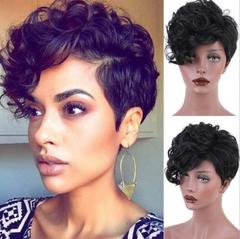 1pcs fashion temperament short hair curly hair natural wig comfortable and breathable black one size