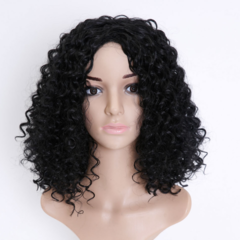 Short curly hair wig female small volume explosion head chemical fiber wig black one size