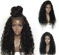 Fashion natural lace temperament female small curly hair wig handmade wig long hair 24 inches black one size