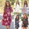 Spring and Autumnsleeve long skirt pocket printing Dresses five color dress S-XXXL size xl blue