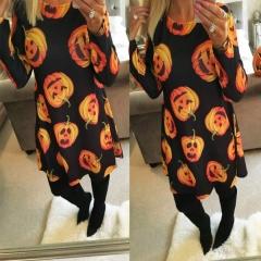 Autumn and Winter New Halloween Pumpkin Printed Long Sleeved Dress l black