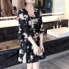 New Flower Dress Summer 2018 New Women Student Han Edition thin fashion m black