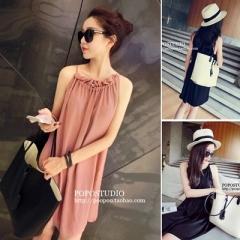 new women's fashion temperament model large size female pleated wooden ear collar sleeveless dress Average code orange
