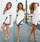 Sexy black and white splice splice irregular hip middle sleeve dress special offer m white