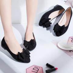 Single Shoe Girl 2018 Butterfly Nest Four Seasons Flat Shoe Women's Shallow Lower Chest Shoe black 35