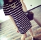 Women's striped loose short-sleeved T-shirt Korean version of the cross-striped lady dress black M