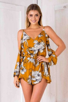 MSIN Best selling explosions High Style Women's  Jumpsuits Loose Florals Casual Shorts Hollow Sleeve One color M