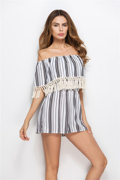 Women's High Style Boat neck Siamese Trousers Tassels Stripe Check sexy Jumpsuits Stripe s