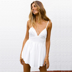 Europe and America High Style Slacks Sleeveless Women's Backless Nylon lace Slacks Whiteness s