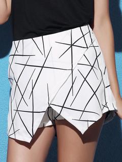 Hot style Women's Geometric pattern Pants Irregularity Culotte Europe and America whiteness s