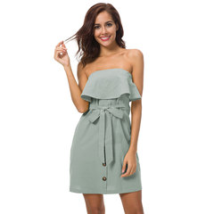 High Style Hot sale Women's Pure color Bandage sexy Boat neck Dress blue s