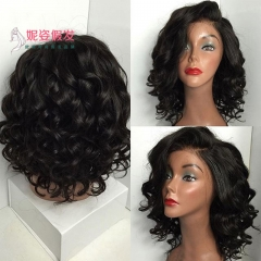 Synthetic Short Wigs For Black Women Wavy With Bangs Hairstyle Heat Resistant Black66274 wine red 46cm