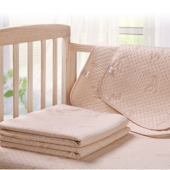 Diaper Pad Four-layer Color Cotton Jacquard Bamboo Fiber Air Layer Urine Mattress Baby Pad Light Coffee S