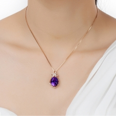 Crystal Necklace,Lady Amethyst Necklace,Necklace a color Chain length 45cm(17.72inches)