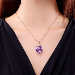 Luxurious Heart Shaped Amethyst Pendant 18 Karat Gold Color Gem Natural Amethyst Necklace a color chain length 45cm(17.72inches)