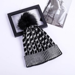 Women Warm Winter Knit Beanies Caps Casual Fur Pom Hats Gilding Striped Elasticity Skullies Beanies YMH one size