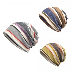 2 Usage Beanies Cap/Scarf Striped Casual Sunshade Breathable Stretch Hat Neck Warmer Head Wear Blue one size