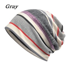 2 Usage Beanies Cap/Scarf Striped Casual Sunshade Breathable Stretch Hat Neck Warmer Head Wear Gray one size