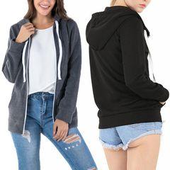 Women Plus Velvet Sweater Zipper Hoodie Solid Color Long Sleeve Casual Loose Top black S