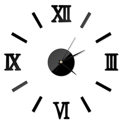 Wall Clock Luxury Large DIY 3D Wall Sticker Clock Home Decor Mirror Art Design black 35x35cm