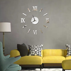Wall Clock Luxury Large DIY 3D Wall Sticker Clock Home Decor Mirror Art Design Silver 35x35cm