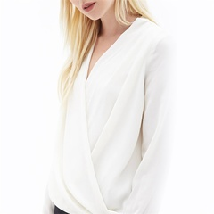 Women's Sexy V Neck Chiffon Shirt Breathable Tops Solid Color Female Blouse White S