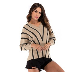 Autumn Winter Womens Sweaters 2018 Long Sleeve Solid Sexy Striped Women Sweater Khaki M