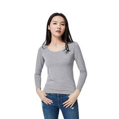 Women Chest Pad Long-Sleeved Without Rims Yoga Pajamas Cotton Bottoming Shirt light grey S
