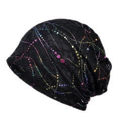 Women Hat Thin Cotton Lace Casual Style Breathable Stretch Sun Hat Head Wear black