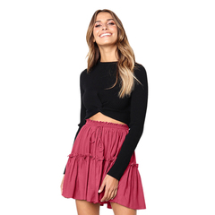 Women's Europe and America Women Half Dress High Waist Pleated Lace Up Female Casual Skirts S Red